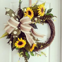 Yellow Sunflower Green Fern Floral Grapevine Wreath with Neutral Accent Bow! Spring and Summer Decor