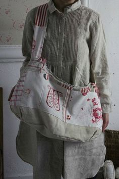 bag made of vintage bed sheets