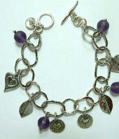 Silver charms Bracelet sterling silver charms bracelets hearts bracelet  Boho jewelry  love Valentine