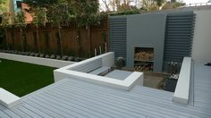 white modern garden design