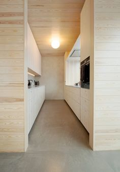 """Floors were covered in hardwearing cement screed. """"It is a house that is built to last by adaption or re-appropriation,"""" the studio concluded. Building Costs, Building Systems, Building Materials, Building A House, Lillehammer, Sustainable Architecture, Contemporary Architecture, Interior Architecture, Pine Plywood"""