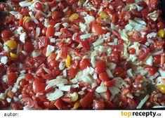 Pečená rajčatová směs recept - TopRecepty.cz Kiwi, A Table, Salsa, Smoothie, Beans, Food And Drink, Vegetables, Ethnic Recipes, Kitchen