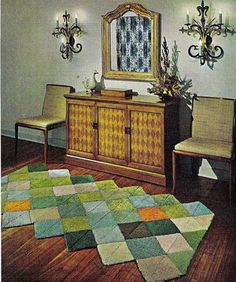 My sister and I made one of these for an anniversary gift for our parents in 1965 using one dollar rug samples and some kind of tape, did they have duct tape then?  They used that multi colored rug for 15years under their dining room table.  Now that i think about it for a year, we stitched them together with thread and big needle there was no tape to do that.