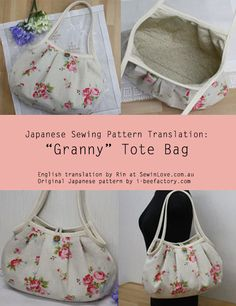 Rin from Sew in Love shares this Japanese sewing pattern translation for a cute, floral tote bag from Bee Factory who also produced the Double Zipped Pouch sewing tutorial. This style of bag is cal… Japanese Sewing Patterns, Sewing Patterns Free, Free Sewing, Sewing Tutorials, Sewing Crafts, Sewing Projects, Quilting Patterns, Free Pattern, Hobo Bag Tutorials