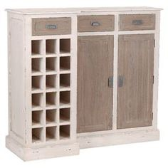 With its distressed finish and classic design, this beautiful sideboard is perfect for de-cluttering your living room or storing cutlery and dinnerware in your dining room. Use its 18 bottle rack to display your wine collection and pair it with pastel tones and floral fabrics to create a dining room look with country flair.   Product: SideboardConstruction Material: Particle board, bayur and mindiColour: BrownFeatures:  18 Bottle rackTwo cabinetsThree interior shelves Three drawers ...