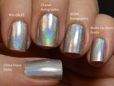 Holographic nail polish - different brands same look. Description from pinterest.com. I searched for this on bing.com/images