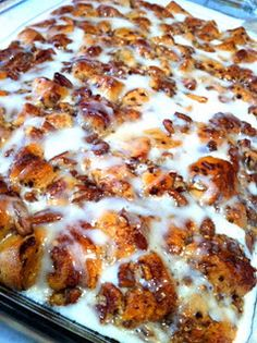 Cinnamon roll french toast bake. * 2 packages of cinnamon rolls * 1/4 lb. butter * 5 eggs * 1/2 cup heavy whipping cream * 2 teaspoons vanilla * 2 teaspoons cinnamon * 3/4 cup maple syrup * 1 cup chopped pecans1. Melt butter and spread in a 9 x 13 pan. 2. Separate the cinnamon rolls and cut each roll into 8 pieces. Spread in pan. Save the icing to use later.