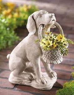 Dog And Basket Garden Statue