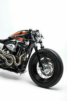 This Harley Sportster 48 from Australia's Kustom Kommune is a kandy-kolored tangerine-flake streamline baby. Harley Sportster 48, Sportster Cafe Racer, Cafe Racer Motorcycle, Motorcycle Gear, Cafe Bike, Motorcycle Quotes, Cool Motorcycles, Vintage Motorcycles, Triumph Motorcycles