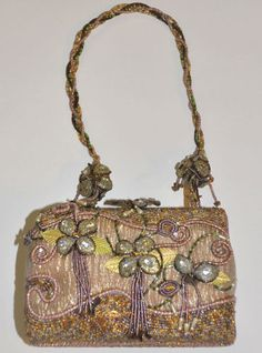 """What lady doesn't love bling?  this Handbag / Purse has bling galore.  This is a lovely Mary Frances Designer Shoulder Bag Floral Beaded Design 7"""" x 5""""  $180"""