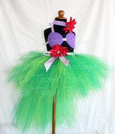 Ariel Little Mermaid Costume - Seashell Top and Tutu with Bustle - Custom Sewn 13'' Pixie Tutu with 22'' Tutu Bustle - girls sizes 6 to 8