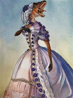 "subjuggulation:  ipomoeaj:  adamazur:  ""Victorian Velociraptor with Violets."" Acrylic and liquid gold leaf on Rives BFK. Made by Adam Mazur.   ""MOTHER WHY HASN'T THE DUKE CALLED AGAIN?""  ""YOU ATE HIM DARLING, REMEMBER?"""