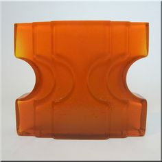 Alsterfors orange cased glass vase designed by Per Olof Strom, signed to base.