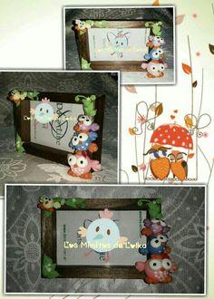 Marco decorado con tótem de lechuzas en porcelana fría