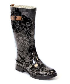 Charcoal Gray Knee-High Rain Boot