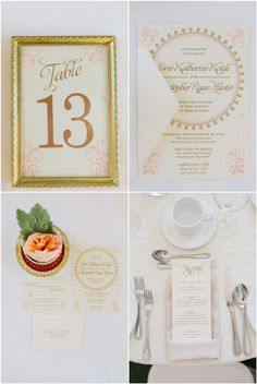 Real wedding by Divine Weddings & Events - Erin and Kit - vintage stationery: table number, invitation, menu   Photo by blf Studios