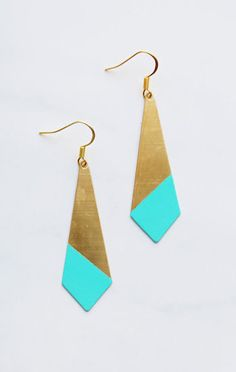 Large Pointed Angle Turquoise Color Dipped Brass