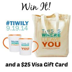 Enter to win a This Is Where I Leave You movie Prize Pack that includes a tote bag, a mug, and a $25 Visa Gift Card.  The #giveaway is open to US residents only and ends September 19, 2014.