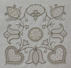 some drawn thread fillings and some pulled thread… Embroidery Hearts, Embroidery Sampler, Hardanger Embroidery, White Embroidery, Embroidery Thread, Cross Stitch Embroidery, Embroidery Patterns, Drawn Thread, Thread Painting