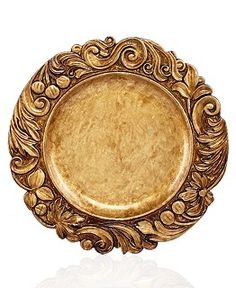 """Jay Imports Golden Wood-textured Charger, 14"""". Polypropylene, hand wipe only. Regularly $30.00 ea, on sale for $15.99 ea at 1.macys.com, 10/4/15"""