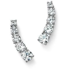 Diamond Five Stone Ear Climbers in 14K White Gold, .50 ct. t.w. - 100%... ($1,005) ❤ liked on Polyvore featuring jewelry, earrings, white, white gold diamond earrings, white diamond earrings, white gold jewelry, 14k earrings and diamond jewelry