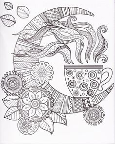 A Cup Of Herbal Tea For Good Night Coloring Book Adults Mas