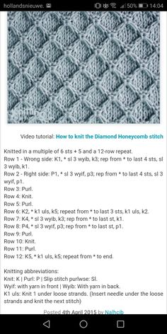 Diamond honeycomb stitch knit