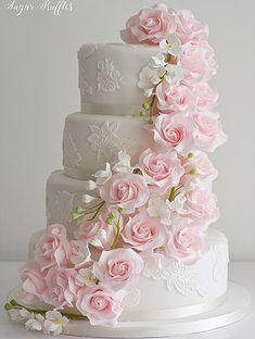 Pink Cascade Wedding Cake