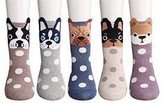 CozyWow Womens/Girls Fun Crazy Animation Print Crew Socks (4/5/6 Pack)
