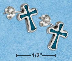 MINI TURQUOISE CROSS EARRINGS Cross Jewelry, Cross Earrings, Turquoise, Mini, Green Turquoise