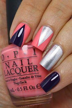 New Coca-Cola by OPI Collection Nail Art (grape fizz nails) Fancy Nails, Trendy Nails, Cute Nails, Manicure, Diy Nails, Nail Polish Designs, Nail Art Designs, Silver Nail Art, Nail Lacquer
