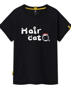 Hair cat letter t shirt for teenage girls funny animal tops plus size