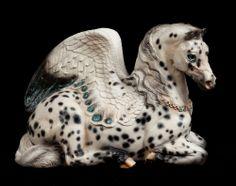 "WINDSTONE ""LEOPARD APPALOOSA #6"" MOTHER PEGASUS FIGURINE, WINGED HORSE STATUE"
