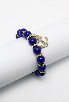 Diamond Anchor Blue Beads Bracelet