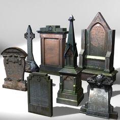 3d stone grave gravestone - Gravestone Pack 3 by Hastran