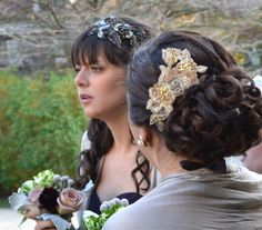 For Bride or Bridesmaid!  Gold Embroidered Beaded Lace Headpiece Hair Comb by JillsBoutique, $58.00