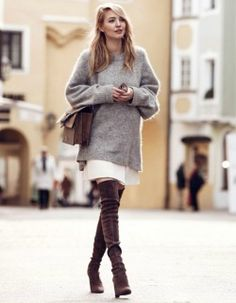 Leonie Sophie + soft neutrals + poised daytime look + oversized heather grey sweater + over-the-knee boots + to die for.  Sweater And Skirt Outfits:  Sweater: H&M, Skirt: Pinko, Boots: Stuart Weitzman, Bag: Gucci, Sunglasses: Jimmy Choo