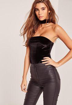 Missguided - Petite Velvet Tab Neck Bodysuit Black