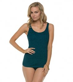 Penbrooke Krinkle Scoop Neck Sheath One Piece Swimsuit at SwimOutlet.com - Free Shipping
