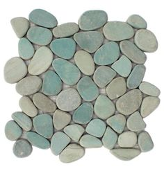Sliced Aqua Pebble Tile $9 ea at cascadestoneworks.com