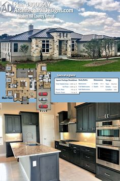Architectural Designs 4-Bed Modern Hill Country Retreat House Plan 430009LY has a split bed layout with a large study that could be used as a 5th bedroom. Ready when you are. Where do YOU want to build?