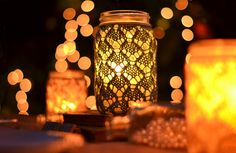 I like the idea of lace on the mason jar for a candle. 5 Ways to Use Mason Jars or Recycled Jars for Your Wedding Lace Mason Jars, Quart Size Mason Jars, Mason Jar Candle Holders, Mason Jar Crafts, Candle Jars, Candles, Lace Vase, Cute Crafts, Diy Crafts