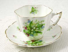 Vintage Tea Cup and Saucer with Lily of the Valley by TheAcreage