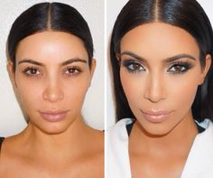 Kim Kardashian admits she feels like her make-up makes her who she is. Does your make-up define YOU? Black Smokey Eye, Black Eyeliner, Beauty Makeup, Hair Makeup, Hair Beauty, Caramel Hair Highlights, Winged Eyeliner Tutorial, Kardashian Jenner, Kardashian Beauty