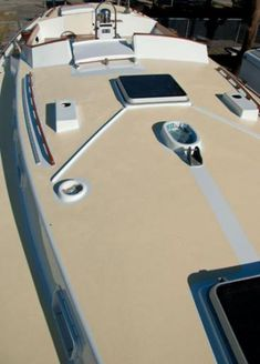 New Life for Old Decks: A fresh coat of deck paint on your vintage classic-plastic cruiser will make the old gal sparkle and shine. Buy A Boat, Make A Boat, Build Your Own Boat, Star Mobile, Behr, Sailboat Restoration, Sailboat Interior, Sailboat Living, Boat Kits