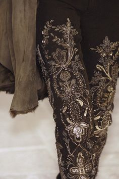 Serious silver bead work on these pants