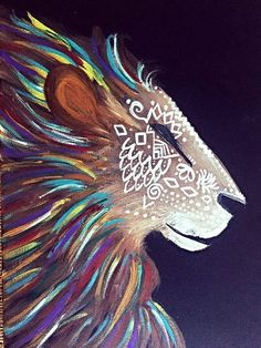 Tribal designed lion with a variety of accented colors decorating his mane.