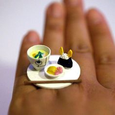 Kawaii Cute Japanese Miniature Food Ring - Traditional Food with Rabbit Shaped Rice Ball. $12.00, via Etsy.