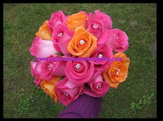 pink+and+orange+rose+bouquets+for+prom | hot pink orange rose bouquet