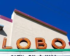 A fine art photo of the Lobo Theatre neon sign in Albuquerque, New Mexico.